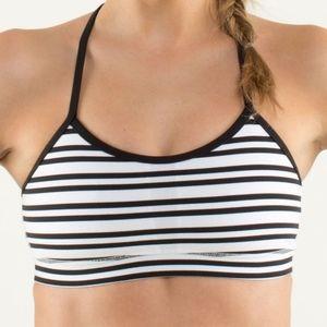 Lululemon Womens Flow Y IV Twin Striped Sports Bra
